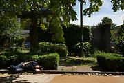 Man sleeping in the summer sunshine
