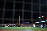 San Francisco Giants right fielder Hunter Pence (8) makes contact with a Los Angeles Dodgers pitch at AT&T Park in San Francisco, California, on April 24, 2017. (Stan Olszewski/Special to S.F. Examiner)