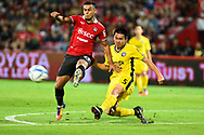 NONTHABURI, THAILAND - JULY 02: Assumpcao of SCG Muangthong United and Sarawut of Pattaya United in action during the second half of the Thai League: SCG Muangthong United vs Pattaya United at SCG Stadium, Nonthaburi, Thailand on July 02, 2017.<br /> .<br /> .<br /> .<br /> (Photo by: Naratip Golf Srisupab/SEALs Sports Images)<br /> .<br /> Any image use must include a mandatory credit line adjacent to the content which should read: Naratip Golf Srisupab/SEALs Sports Images