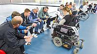 BREDA - Paragames 2011 Breda, coach clinic olv martin de Ridder en Ewout Schroder, zaterdag tijdens  de interland Nederland-Duitsland  bij het 4-landentoernooi Wheelchair Floorball Hockey, het  Nederlands handvoortbewogen rolstoelhockeyteam.  ANP COPYRIGHT KOEN SUYK