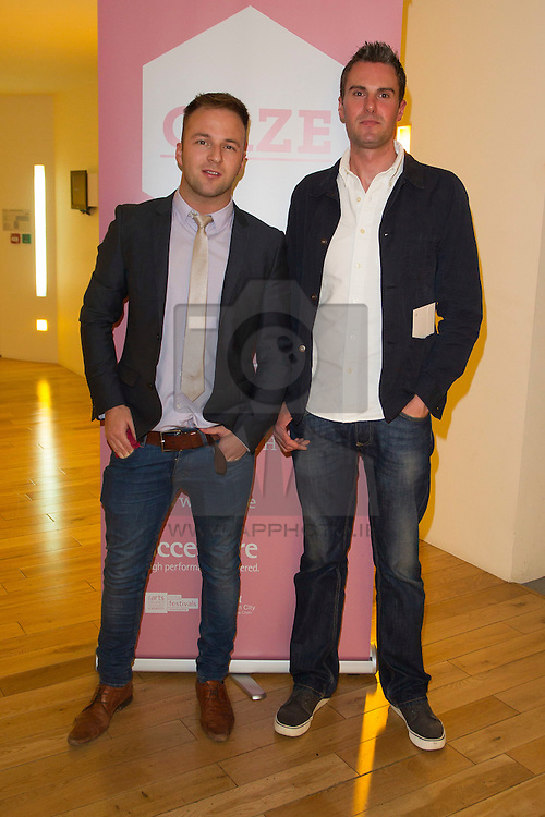 Repro Free: Wayne Lawlor and Brian Roche pictured at the Light House Cinema for the Opening Night of the Gaze International LGBT Film Festival Dublin. The festival, which showcases the best Irish and international LGBT film and documentaries, will take place at the Light House Cinema until Monday, 5th August. For film listings and ticket information, visit www.gaze.ie. Picture Andres Poveda