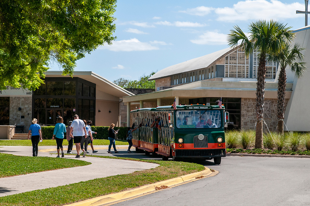 An Old Town Trolley Tours bus makes a stop at the National Shrine of Our Lady of La Leche at Mission Nombre de Dios in St. Augustine, Florida on Friday, March 19, 2021. Copyright 2021 Jason Barnette