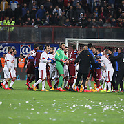 Trabzonspor's and Galatasaray's Multiple Players during their Turkish SuperLeague Derby match Trabzonspor between Galatasaray at the Avni Aker Stadium at Trabzon Turkey on Sunday, 19 April 2015. Photo by TVPN/TURKPIX