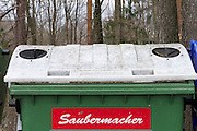Easter in Southern Styria, Austria. Glass recycling ton.