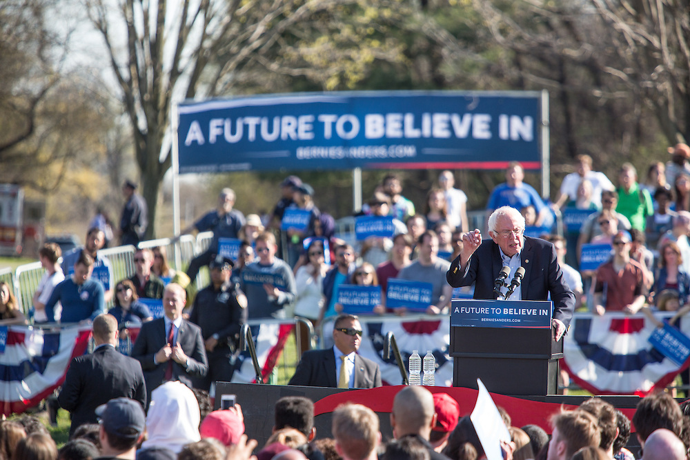 """Brooklyn, NY - 17 April 2016. Vermont Senator Bernie Sanders, who is running as a Democrat in the U.S. Presidential primary elections, held a campaign """"get out the  vote"""" rally in Brooklyn's Prospect Park."""