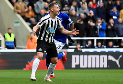 Newcastle United's Matt Ritchie reacts after seeing his penalty saved by Everton goalkeeper Jordan Pickford (not in picture) during the Premier League match at St James' Park, Newcastle.