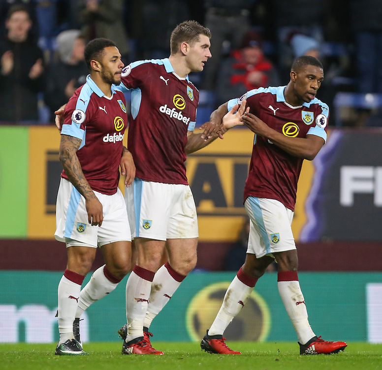 Burnley's Andre Gray celebrates scoring his sides second goal with teammates Sam Vokes and Tendayi Darikwa<br /> <br /> Photographer Alex Dodd/CameraSport<br /> <br /> Emirates FA Cup Third Round Replay - Burnley v Sunderland - Tuesday 17th January 2017 - Turf Moor - Burnley<br />  <br /> World Copyright © 2017 CameraSport. All rights reserved. 43 Linden Ave. Countesthorpe. Leicester. England. LE8 5PG - Tel: +44 (0) 116 277 4147 - admin@camerasport.com - www.camerasport.com