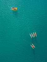 Aerial view of in paddle boat and on water bikes at beautiful lake Plastira, at Karditsa, Greece