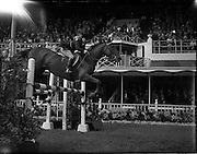 """04/08/1960<br /> 08/04/1960<br /> 04 August 1960<br /> R.D.S Horse Show Dublin (Thursday). Mrs H.R. Morrison on """"Glide-on""""."""