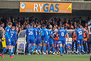 AFC Wimbledon attacker Michael Folivi (41) celebrating after scoring goal to make it 1-0 during the EFL Sky Bet League 1 match between AFC Wimbledon and Gillingham at the Cherry Red Records Stadium, Kingston, England on 23 March 2019.