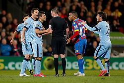 Frank Lampard and Sergio Aguero of Manchester City appeal to referee Michael Oliver - Photo mandatory by-line: Rogan Thomson/JMP - 07966 386802 - 06/04/2015 - SPORT - FOOTBALL - London, England - Selhurst Park - Crystal Palace v Manchester City - Barclays Premier League.