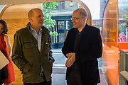 SIMON SEBAG MONTEFIORE; ANDREW DE BOTTON, Launch of ' More Human',  Designing a World Where People Come First' by Steve Hilton. Party held at Second Home in Princelet St, off Brick Lane, London. 19 May 2015.