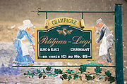 Sign at Champagne Petitjean-Liege at Cramant near Epernay in the Champagne-Ardenne region of France