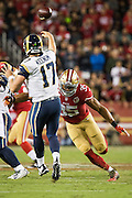 San Francisco 49ers free safety Eric Reid (35) forces a quick pass by Los Angeles Rams quarterback Case Keenum (17) at Levi's Stadium in Santa Clara, Calif., on September 12, 2016. (Stan Olszewski/Special to S.F. Examiner)