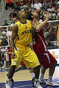 Maccabi Tel Aviv Basketball team (Yellow) Playing Hapoel Gilboa-Galil (Red) on October 16th 2011. Final result Maccabi 95 Hapoel 60 Richard Hendrix