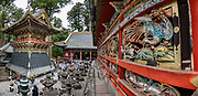 "Ornate wood bird carving at 1600s Toshogu Shrine in Nikko, a UNESCO World Heritage site in Japan. Toshogu Shrine is the final resting place of Tokugawa Ieyasu, the founder of the Tokugawa Shogunate that ruled Japan for over 250 years until 1868. Ieyasu is enshrined at Toshogu as the deity Tosho Daigongen, ""Great Deity of the East Shining Light"". Initially a relatively simple mausoleum, Toshogu was enlarged into the spectacular complex seen today by Ieyasu's grandson Iemitsu during the first half of the 1600s. The lavishly decorated shrine complex consists of more than a dozen buildings set in a beautiful forest. Countless wood carvings and large amounts of gold leaf were used to decorate the buildings in a way not seen elsewhere in Japan. Toshogu contains both Shinto and Buddhist elements, as was common until the Meiji Period when Shinto was deliberately separated from Buddhism. Toshogu is part of Shrines and Temples of Nikko UNESCO World Heritage site. This image was stitched from multiple overlapping photos."