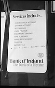 "Fergus Rowan sits in at Bank of Ireland.  (J70)..1975..22.08.1975..08.22.1975..22nd August 1975..As a result of the 1970 bank strike which lasted for six months, the Rowan family business found itself in financial difficulties. During the strike the Rowans had had to accept cheques in good faith in order to stay in business. When the cheques came for settlement the bank refused as they stated that some were 'dodgy'. This put severe strain on the business which was eventually put into receivership.As part of the process the Rowan business beside the bank was put up for sale and was purchased by B.o I. Rowan was outraged and started a campaign against the bank which culminated in a sit in at the banks headquarters in Westmoreland St,Dublin. He also became a thorn in the side of the bank at the A.G.Ms raising many points...""Bully small business men"" a new service added to the bank list by Mr Rowan."