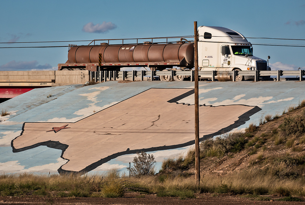 Fracking industry truck in trafic in Pecos, Texas.