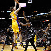 19 January 2012: Los Angeles Lakers power forward Pau Gasol (16) takes a jump shot over Miami Heat power forward Udonis Haslem (40) during the Miami Heat 98-87 victory over the Los Angeles Lakers at the AmericanAirlines Arena, Miami, Florida, USA.