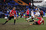 Tranmere Rovers' Stephen Arthurworrey sees his shot at goal blocked. Skybet football league 1match, Tranmere Rovers v Oldham Athletic at Prenton Park in Birkenhead, England on Saturday 1st March 2014.<br /> pic by Chris Stading, Andrew Orchard sports photography.