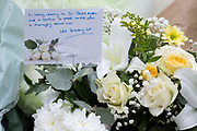 Two days after the killing of the Conservative member of parliament for Southend West, Sir David Amess MP a message by Wes Streeting MP Labour MP for Ilford North is attached to a bouquet of flowers at Eastwood Road North, a short distance from Belfairs Methodist Church in Leigh-on-Sea, on 17th October 2021, in Leigh-on-Sea, Southend , Essex, England. Amess was conducting his weekly constituency surgery when attacked with a knife by Ali Harbi Ali.