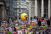 The start of the march in Bank, the financial district of London. The anti-austerity march, the People's Assembly saw tens of thousands marching and protestin in the streets of London against the newly elected conservative government.