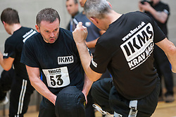 Students kicking. Franklyn Hartkamp takes the Institute Of Krav Maga Scotland grading today at Stirling.<br /> ©Michael Schofield.