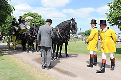 © under license to London News Pictures. WINDSOR, UK  13/05/2011.Judging takes place at the Carriage Marathon. The Royal Windsor Horse Show in the grounds of Windsor Castle today (13 May 2011). Photo credit should read Stephen Simpson/LNP.