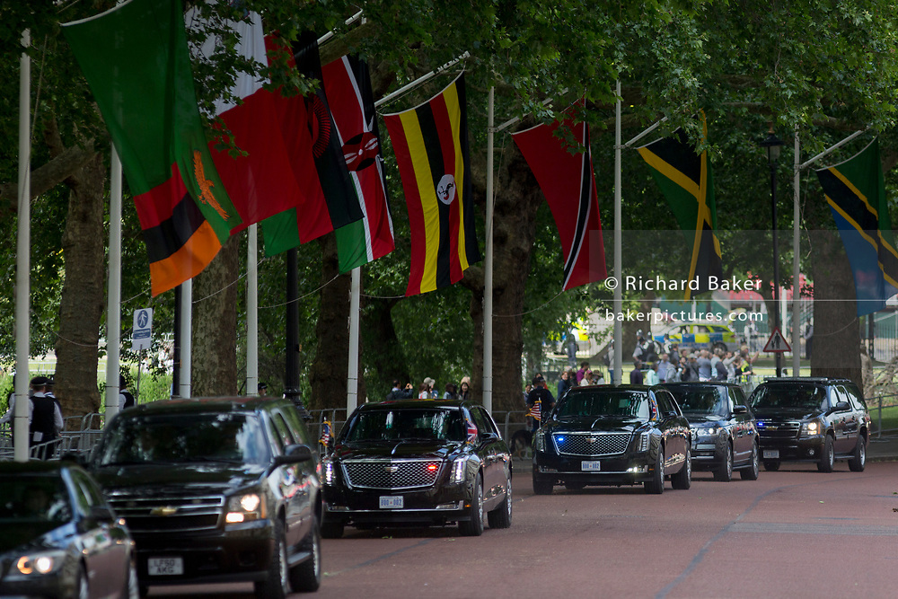 On US President Donald Trump's first day of a controversial three-day state visit to the UK by the 45th American President, his Presidential cavalcade makes its way along Horseguards en-route to Westminster Abbey, on 3rd June 2019, in London England.