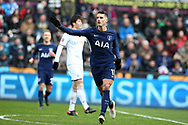 Erik Lamela of Tottenham Hotspur celebrates after he scores his teams 2nd goal. The Emirates FA Cup, quarter-final match, Swansea city v Tottenham Hotspur at the Liberty Stadium in Swansea, South Wales on Saturday 17th March 2018.<br /> pic by  Andrew Orchard, Andrew Orchard sports photography.