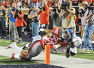 Mississippi Rebels running back Jordan Wilkins (22) is stopped short of the goal line by Vanderbilt Commodores cornerback Torren McGaster (5) at Vaught-Hemingway Stadium at Ole Miss in Oxford, Miss. on Saturday, September 26, 2015. (AP Photo/Oxford Eagle, Bruce Newman)