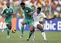 Fotball<br /> Afrika mesterskapet 2008<br /> Foto: DPPI/Digitalsport<br /> NORWAY ONLY<br /> <br /> FOOTBALL - AFRICAN CUP OF NATIONS 2008 - 1/4 FINAL - 3/02/2008 - GHANA v NIGERIA - JOHN OBI MIKEL (NIG) / ASAMOAH GYAN (GHA)