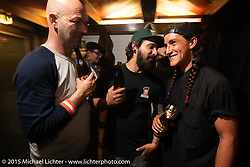 Podium Bar pre-party before the Art and Wheels art and motorcycle show in Basel, Switzerland. May 15, 2015. Photography ©2015 Michael Lichter.
