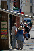A general view looking of Cannon Street in Dover city centre on Saturday, Sept 5, 2020 - ahead of warnings announced for a rival far-right and pro-migrant groups preparing to descend on the coastal town on Saturday, Sept 5, 2020. fears of violence against the refugees announced by far-right groups who are expected to assemble to demonstrate over migrant crossings. Pro-migrant protesters are already gathered in the town on Saturday amid a heavy police presence. Dover MP Natalie Elphicke has urged people to stay away from the protests given the backdrop of the Covid-19 pandemic. British media reports say that on Friday, an activist group projected pro-immigrant messages onto the White Cliffs of Dover ahead of the protests saying 'Rise above fear. Refugees welcome' (VXP Photo/ Vudi Xhymshiti)