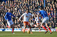 Blackpool Forward, Nathan Delfouneso (30) up against Portsmouth Defender, Matt Clarke (5) and Portsmouth Midfielder, Adam May (30) during the EFL Sky Bet League 1 match between Portsmouth and Blackpool at Fratton Park, Portsmouth, England on 24 February 2018. Picture by Adam Rivers.