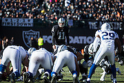 Oakland Raiders kicker Sebastian Janikowski (11) waits for a field goal attempt against the Indianapolis Colts at Oakland Coliseum in Oakland, Calif., on December 24, 2016. (Stan Olszewski/Special to S.F. Examiner)
