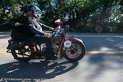 Bartek Mizerski riding his 1928 Indian Scout in the Motorcycle Cannonball coast to coast vintage run. Stage 5 (229 miles) from Bowling Green, OH to Bourbonnais, IL. Wednesday September 12, 2018. Photography ©2018 Michael Lichter.