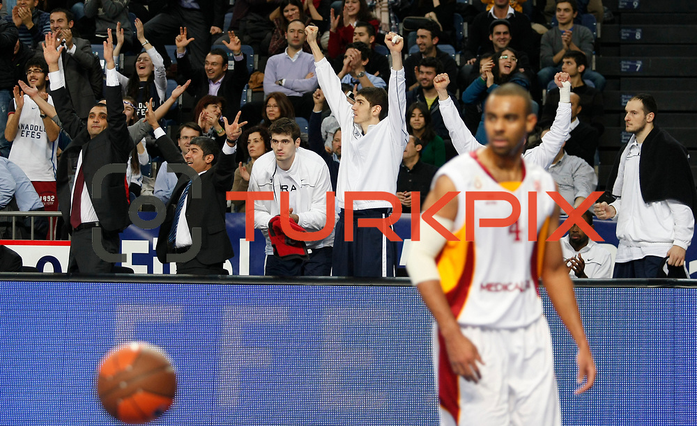 Anadolu Efes's players during their Turkish Airlines Euroleague Basketball Top 16 Game 1 match Anadolu Efes between Galatasaray at Sinan Erdem Arena in Istanbul, Turkey, Thursday, January 19, 2012. Photo by TURKPIX
