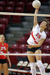 18 AUG 2007: Jagoda Pstras practices her spike during pre-game warm-ups. The Illinois State Redbirds, picked for 5th in the pre-season Missouri Valley Conference coaches poll, prepare for the beginning of the season during the annual Red/White inter-squad scrimmage at Redbird Arena in Normal Illinois.
