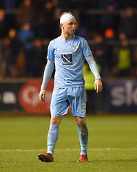 Coventry City's Jack Grimmer with a bandage on his head