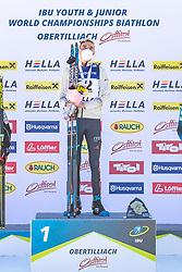 28.02.2021, Obertilliach, AUT, IBU Jugend und Junioren WM, Obertilliach, Einzel 15 km Junioren, Siegerehrung, im Bild Goldmedaillen Gewinner und Weltmeister 2021 Philipp Lipowitz (GER) // Gold medal winners and world champions 2021 Philipp Lipowitz of Germany during the winner ceremony for the juniors male 15 km individual competition of IBU Biathlon Youth and Junior World Championships in Obertilliach, Austria on 2021/02/28. EXPA Pictures © 2021, PhotoCredit: EXPA/ Lukas Huter