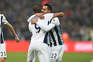 Nacer Chadli of West Bromwich Albion ® celebrates after scoring his sides 1st goal with Jose Salomon Rondon of West Bromwich. Albion.Premier league match, West Ham Utd v West Bromwich Albion at the London Stadium, Queen Elizabeth Olympic Park in London on Saturday 11th February 2017.<br /> pic by John Patrick Fletcher, Andrew Orchard sports photography.