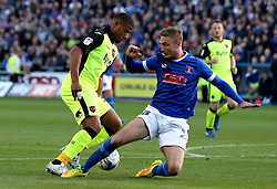 Reuben Reid of Exeter City goes past Gary Liddle of Carlisle United - Mandatory by-line: Robbie Stephenson/JMP - 14/05/2017 - FOOTBALL - Brunton Park - Carlisle, England - Carlisle United v Exeter City - Sky Bet League Two Play-off Semi-Final 1st Leg