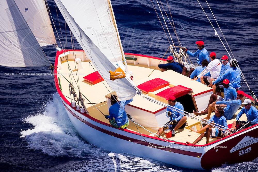 Zemi sailing in the Antigua Classic Yacht Regatta, Windward Race.