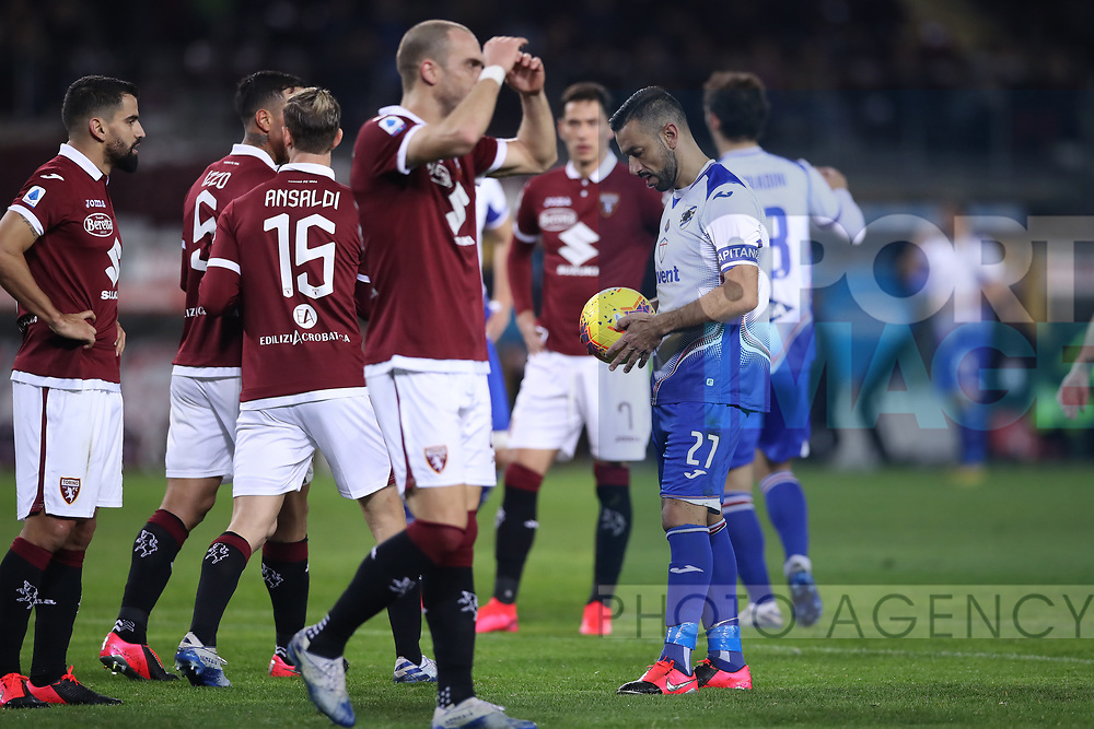 Fabio Quagliarella of Sampdoria studies the ball before scoring from the penalty spot to give the side a 3-1 lead during the Serie A match at Stadio Grande Torino, Turin. Picture date: 8th February 2020. Picture credit should read: Jonathan Moscrop/Sportimage