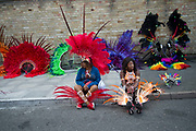 Hackney Carnival on 8th September 2019 in London, United Kingdom. Waiting for the procession to start.