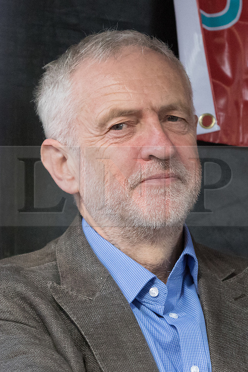 © Licensed to London News Pictures. 09/10/2016. LONDON, UK.  JEREMY CORBYN, Labour party leader with socialists, Trade Unionists, Jewish and anti racism groups at a march and rally from Altib Ali Park in Whitechapel to Cable Street to mark the 80th anniversary of the Battle of Cable Street and commemorate the defeat of fascism and Sir Oswald Mosley's British Union of Fascists (whose members were known as Blackshirts) in London's east end in 1936. The activists today are also protesting against the rising number of racist and anti-semitic hate crimes in London following Brexit. On 4th October, 1936 the police tried to escort Mosley and his Blackshirts along Cable Street, but they were stopped by local Jewish, Irish and English residents who built barricades and hurled back the fascists by force.  Photo credit: Vickie Flores/LNP