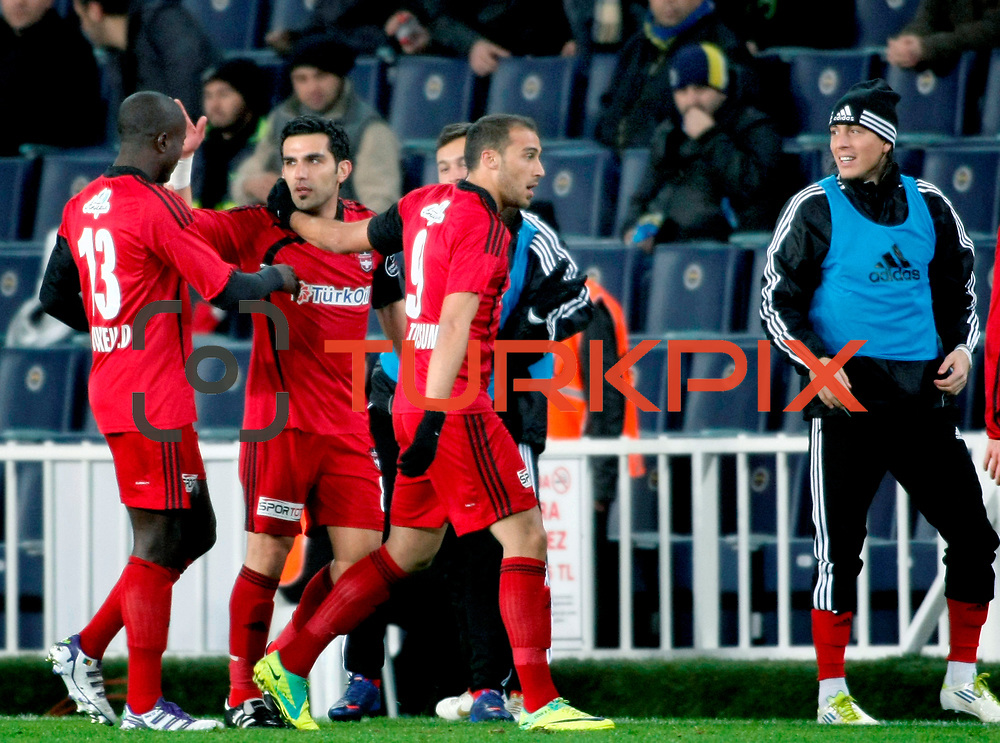 Gaziantepspor's Bekir Ozan Has (2ndL) celebrate his goal with team mate during their Turkish superleague soccer match Fenerbahce between Gaziantepspor at the Sukru Saracaoglu stadium in Istanbul Turkey on Monday09 January 2011. Photo by TURKPIX