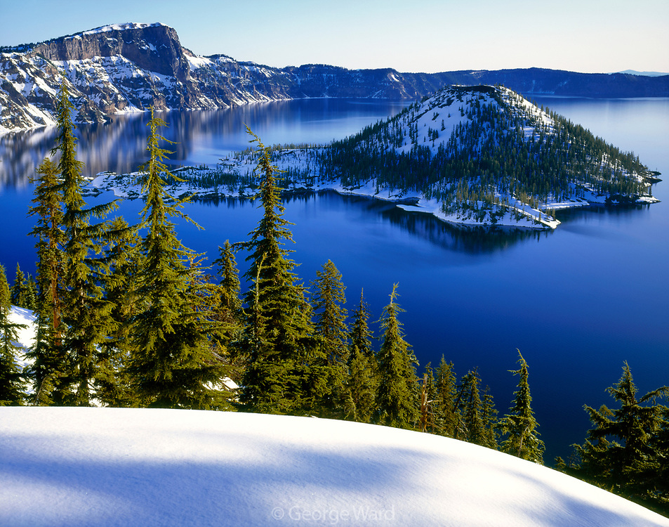 Wizard Island in Winter, Crater Lake National Park, Oregon