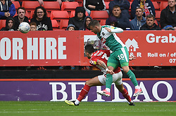 Plymouth Argyle's Graham Carey scores his side's first goal of the game